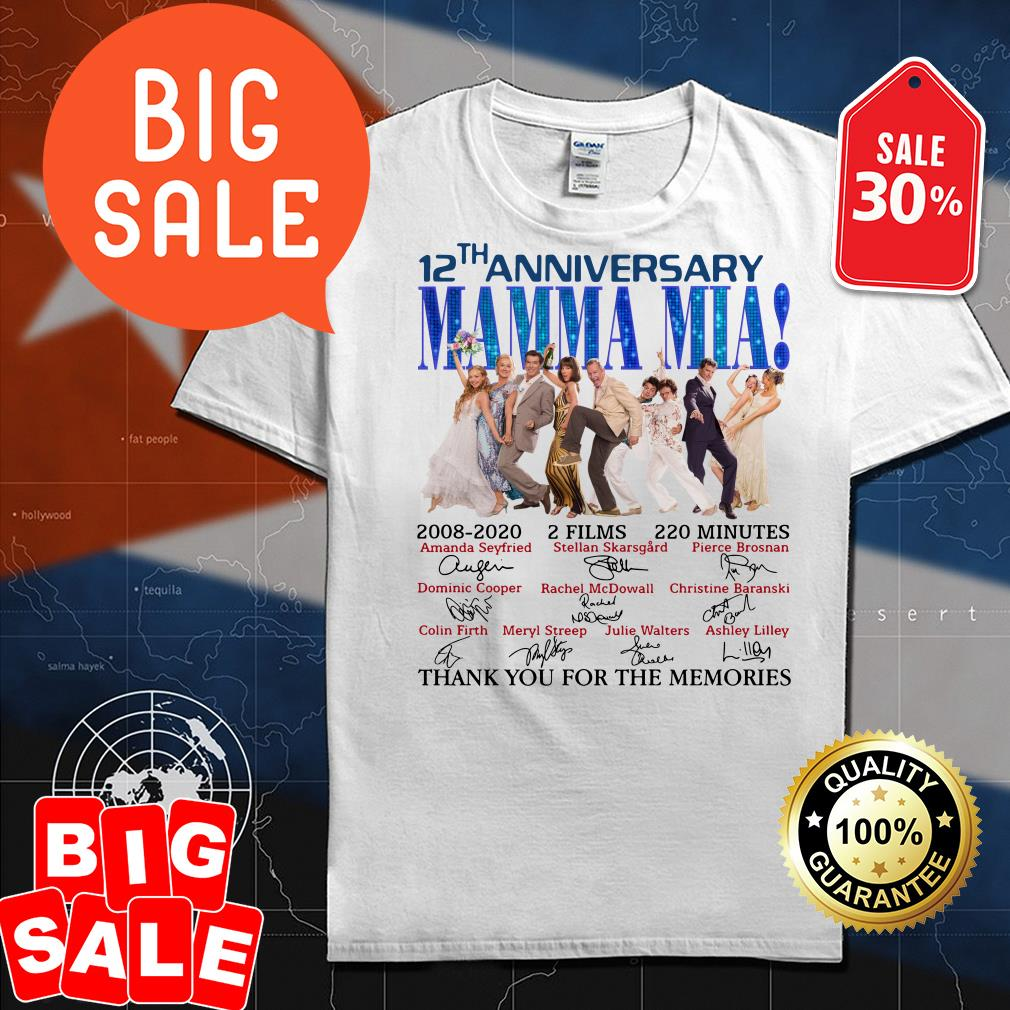 Official 12th anniversary Mamma Mia thank you for the memories shirt by tshirtat store Shirt