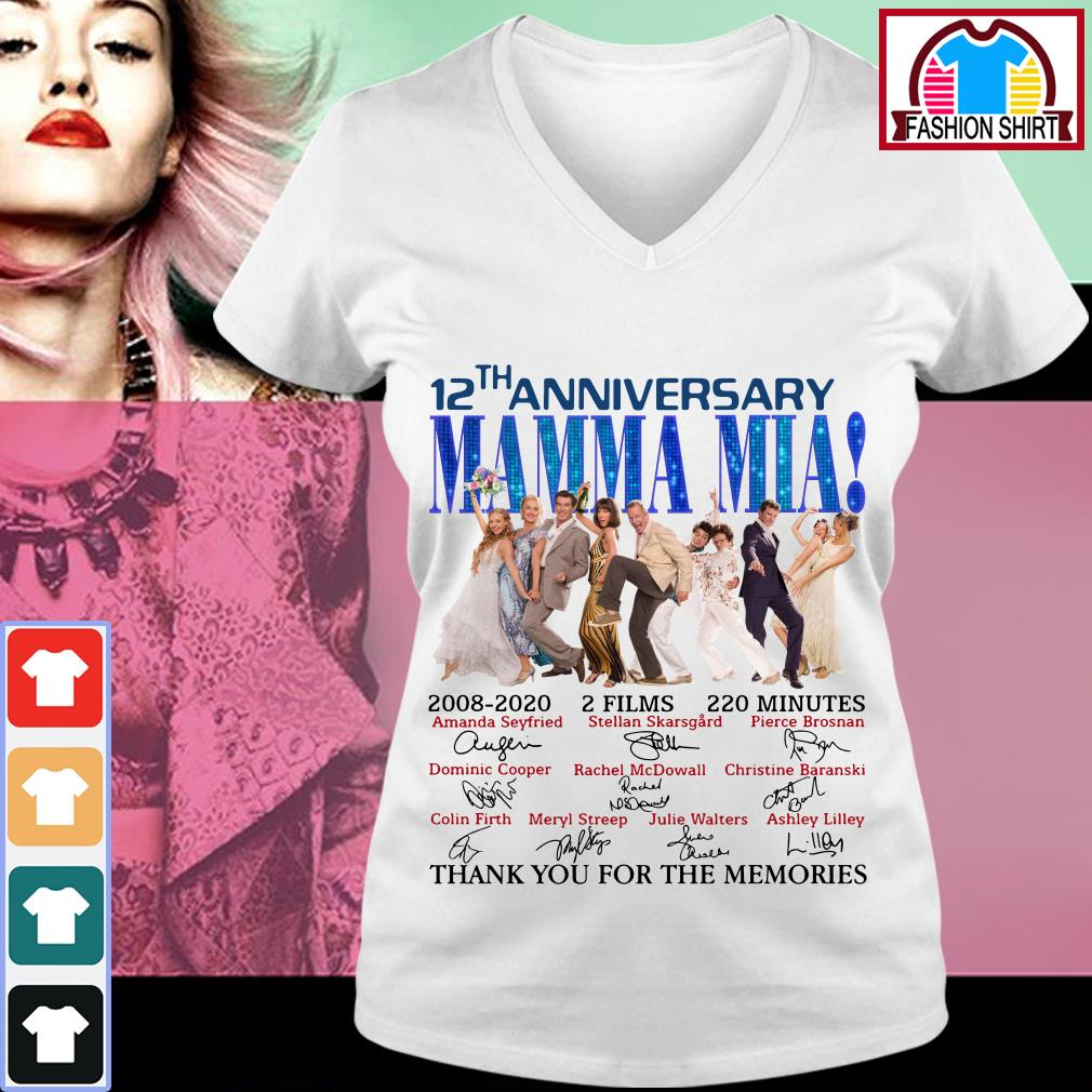 Official 12th anniversary Mamma Mia thank you for the memories shirt by tshirtat store V-neck T-shirt