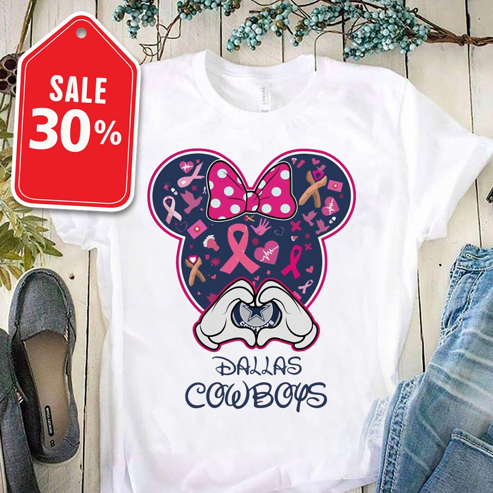 Official Breast cancer Mickey love Dallas Cowboys shirt by tshirtat store Ladies Tee