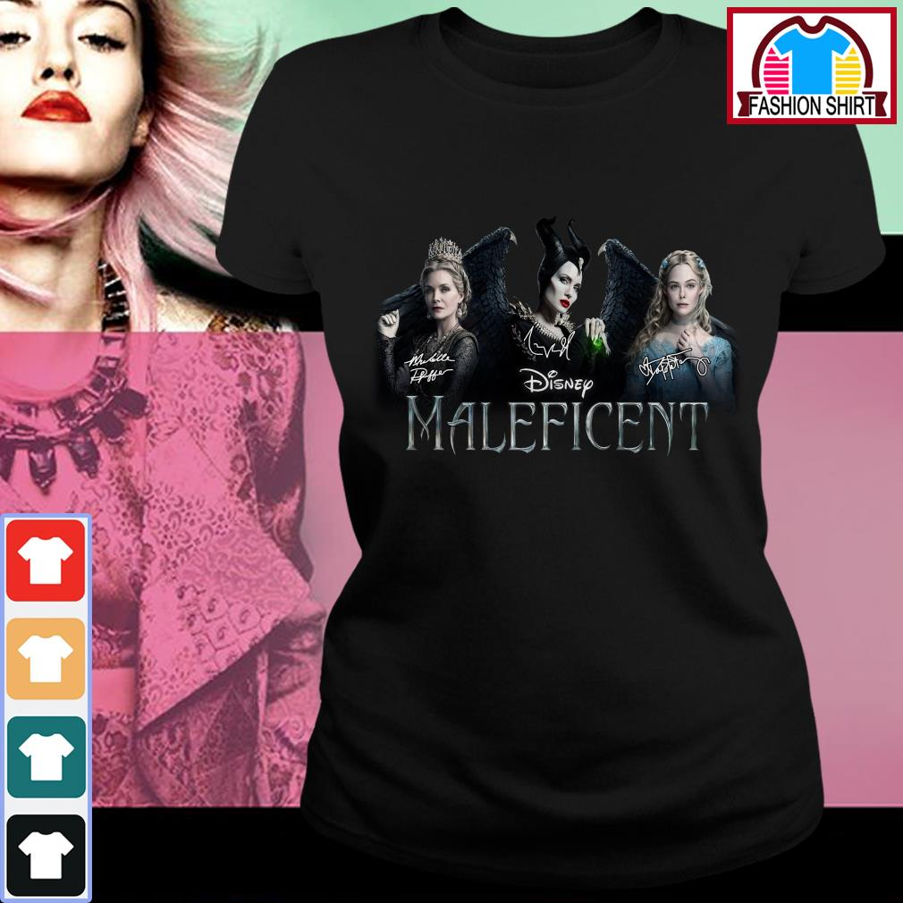 Official Disney Maleficent signatures shirt by tshirtat store Ladies Tee