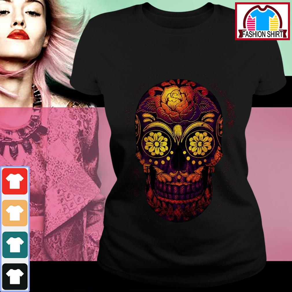 Official Floral sugar skull shirt by tshirtat store Ladies Tee