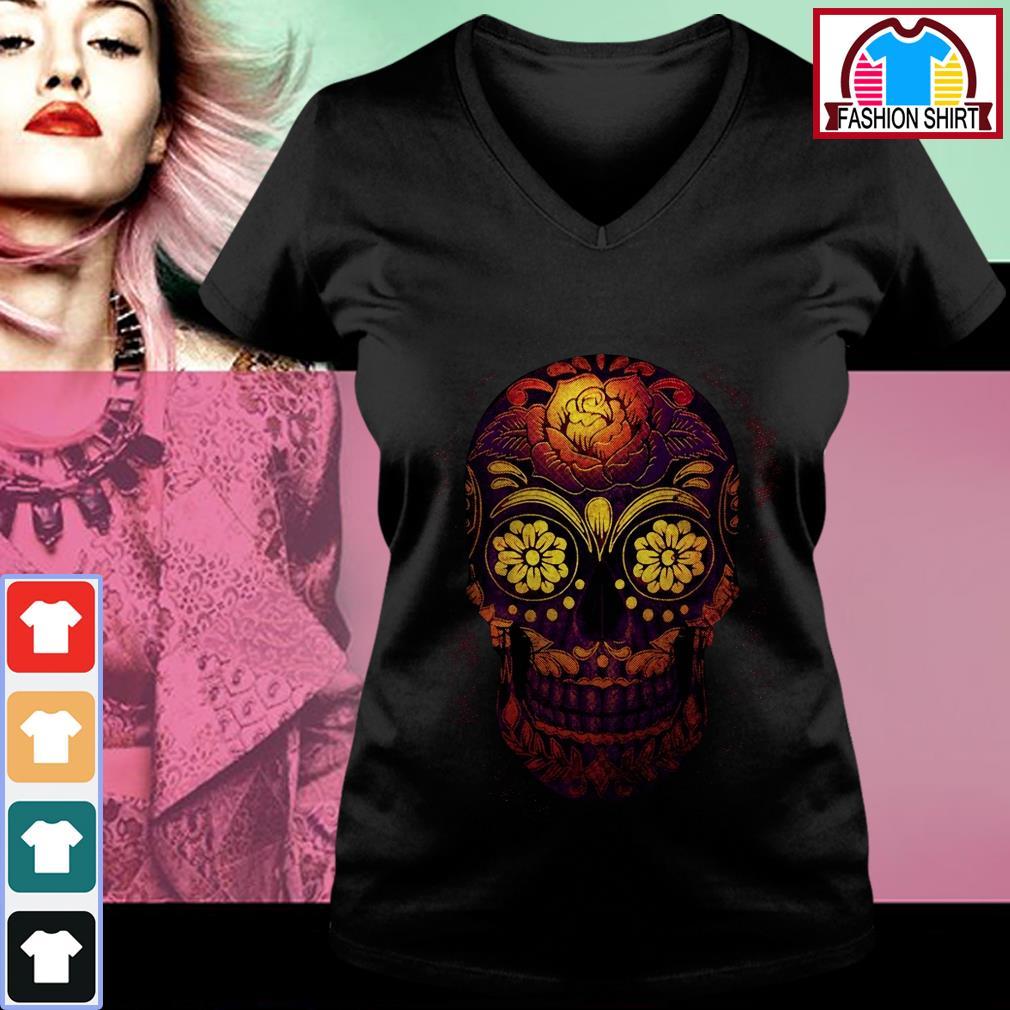 Official Floral sugar skull shirt by tshirtat store V-neck T-shirt