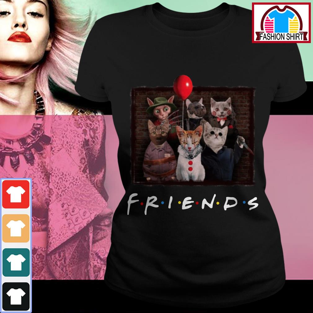 Official Halloween Friends TV Show cat in horror movie character shirt by tshirtat store Ladies Tee