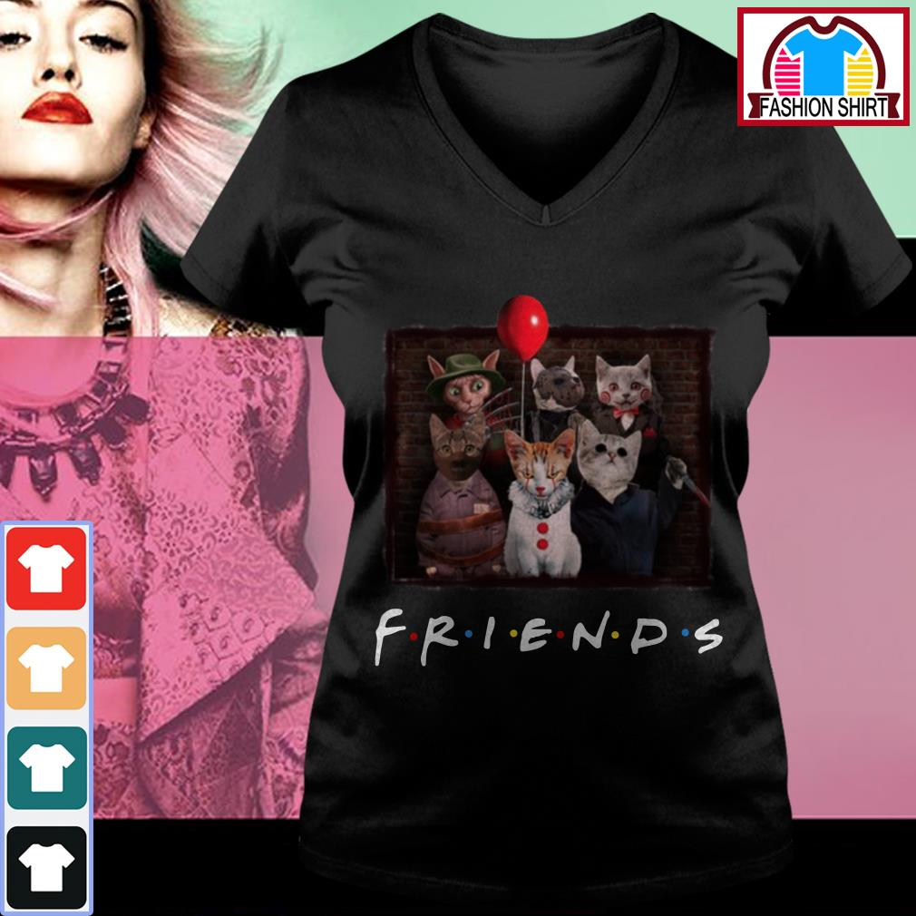 Official Halloween Friends TV Show cat in horror movie character shirt by tshirtat store V-neck T-shirt