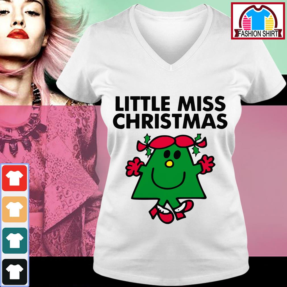 Official Little miss Christmas shirt by tshirtat store V-neck T-shirt