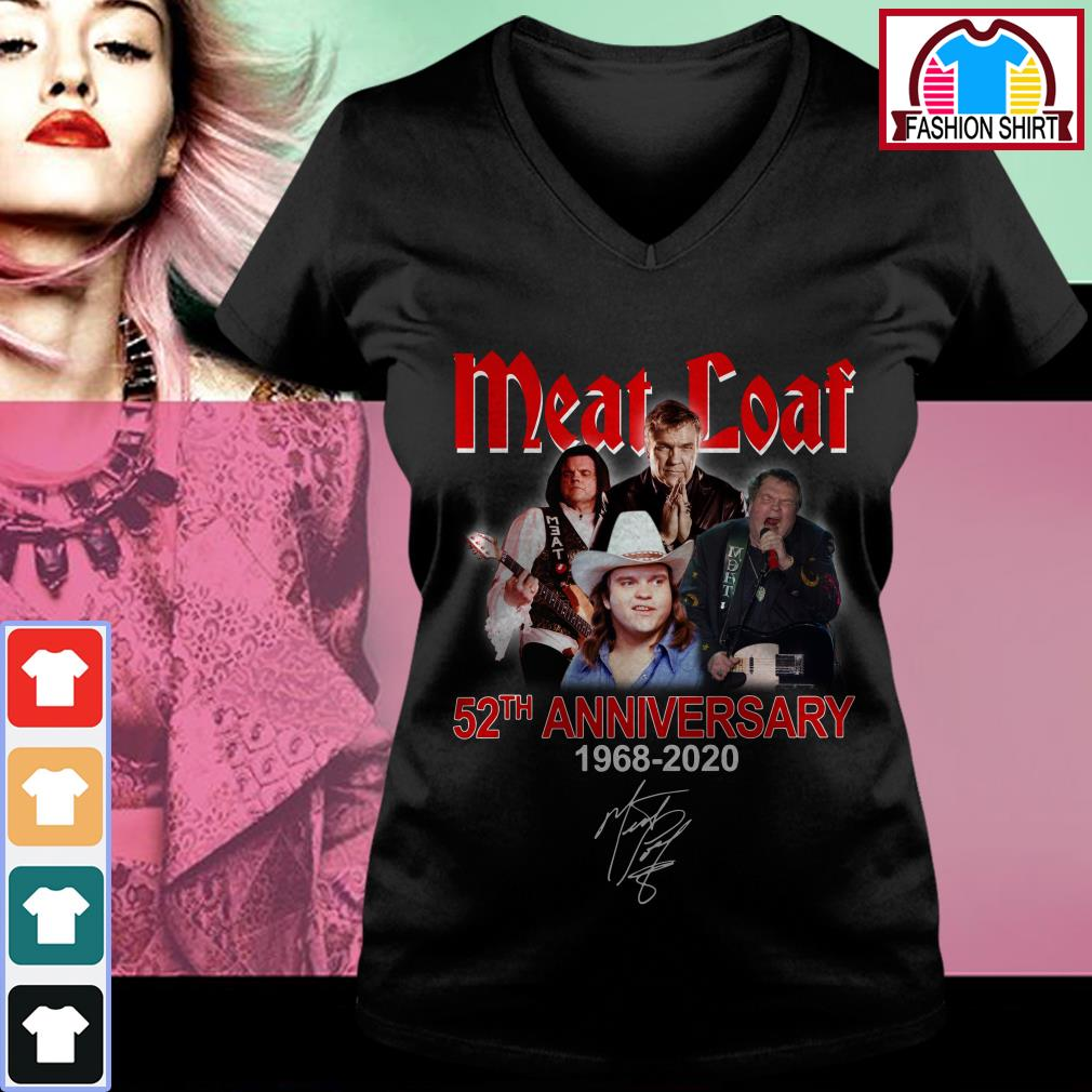 Official Meat Loaf 52th anniversary 1968-2020 signature shirt by tshirtat store V-neck T-shirt