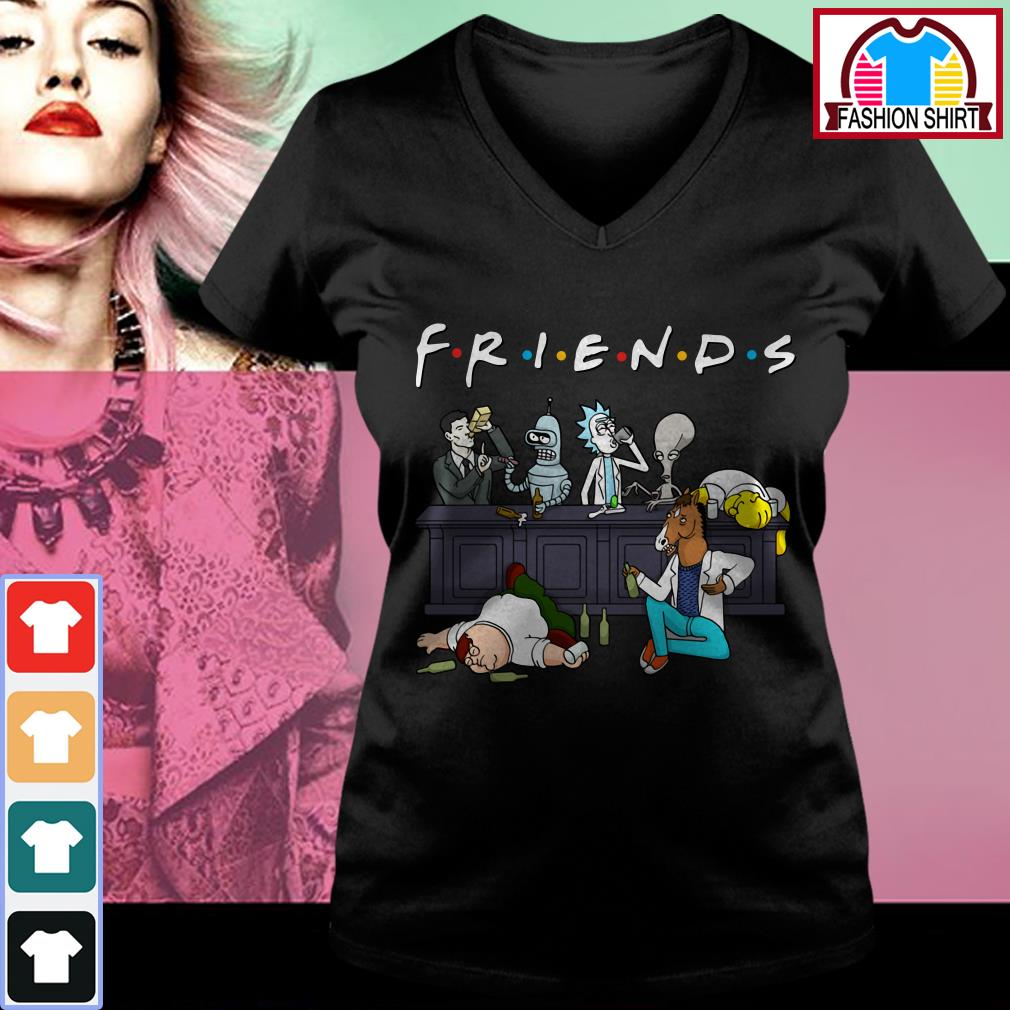 Official Nice Cartoon characters on Netflix Friends shirt by tshirtat store V-neck T-shirt