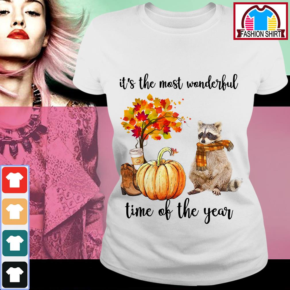 Official Raccoon it's the most wonderful time of the year shirt by tshirtat store Ladies Tee