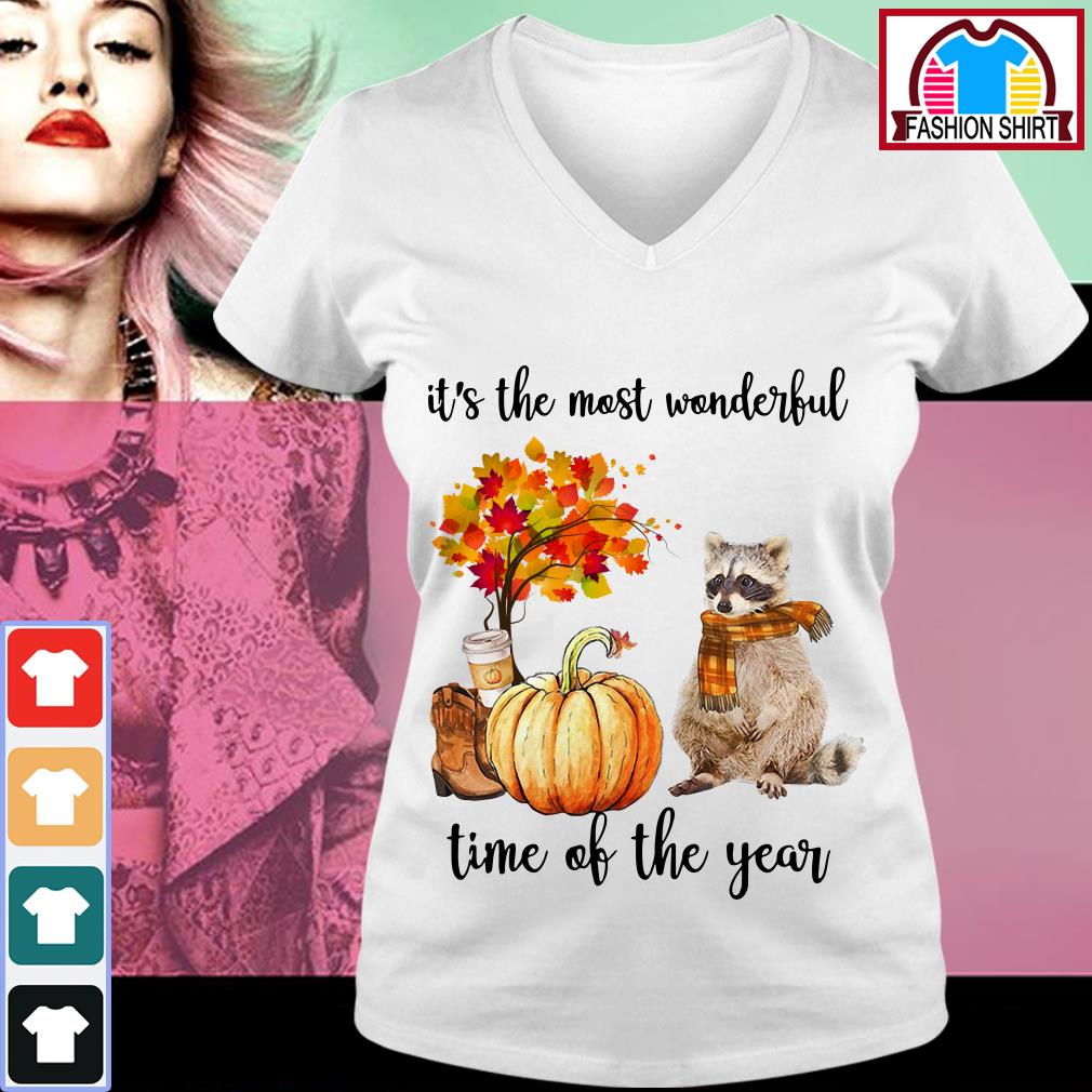 Official Raccoon it's the most wonderful time of the year shirt by tshirtat store V-neck T-shirt
