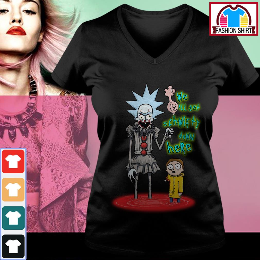 Official Rick and Morty Pennywise we all set schwifty down here shirt by tshirtat store V-neck T-shirt
