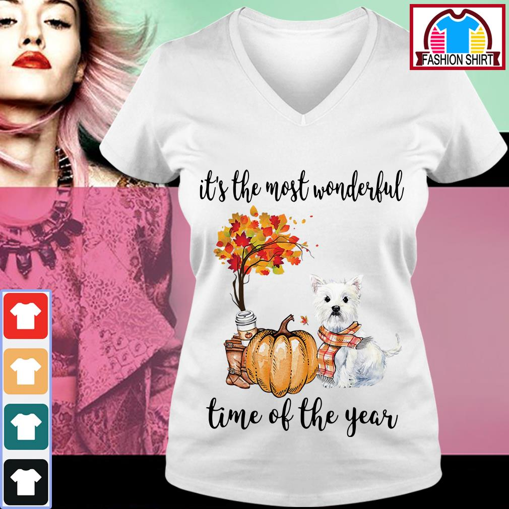 Official Westie it's the most wonderful time of the year shirt by tshirtat store V-neck T-shirt