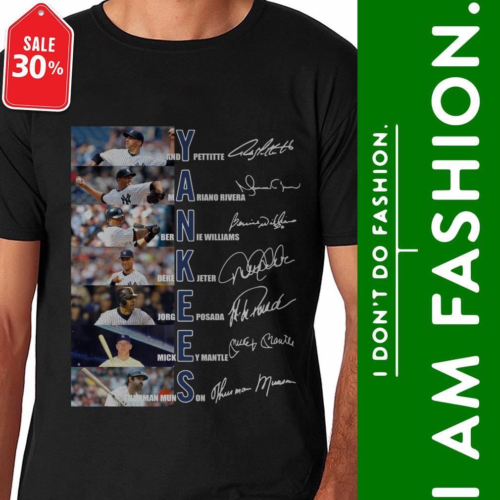 Official Yankees Andy Pettitte Mariano Rivera Bernie Williams signature shirt by tshirtat store Shirt