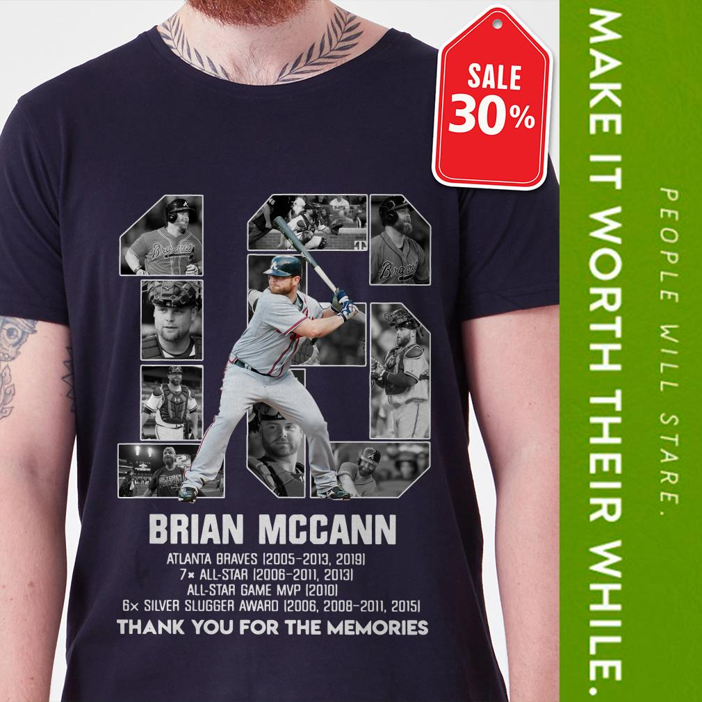 Official 16 Brian Mccann Atlanta Braves thank you for the memories shirt by tshirtat store Shirt
