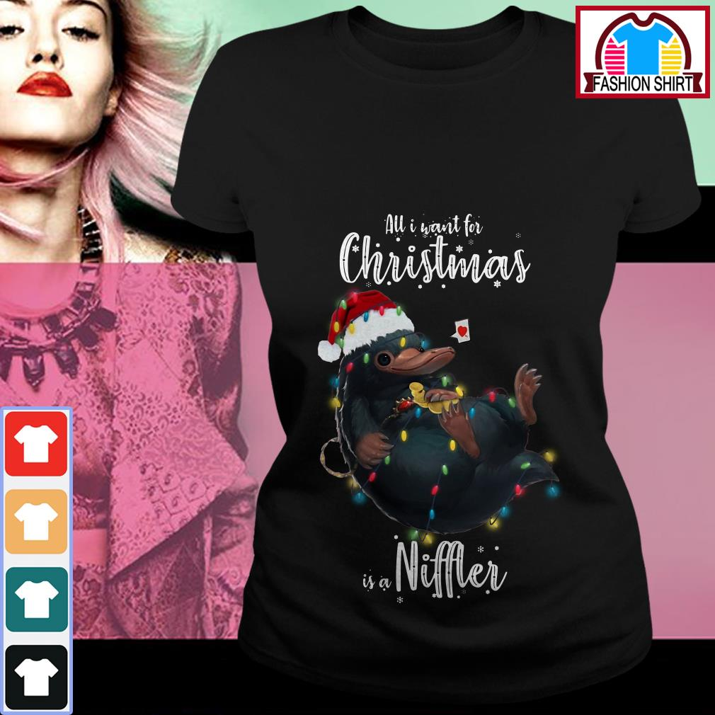 Official All I want for Christmas is a Niffler shirt by tshirtat store Ladies Tee