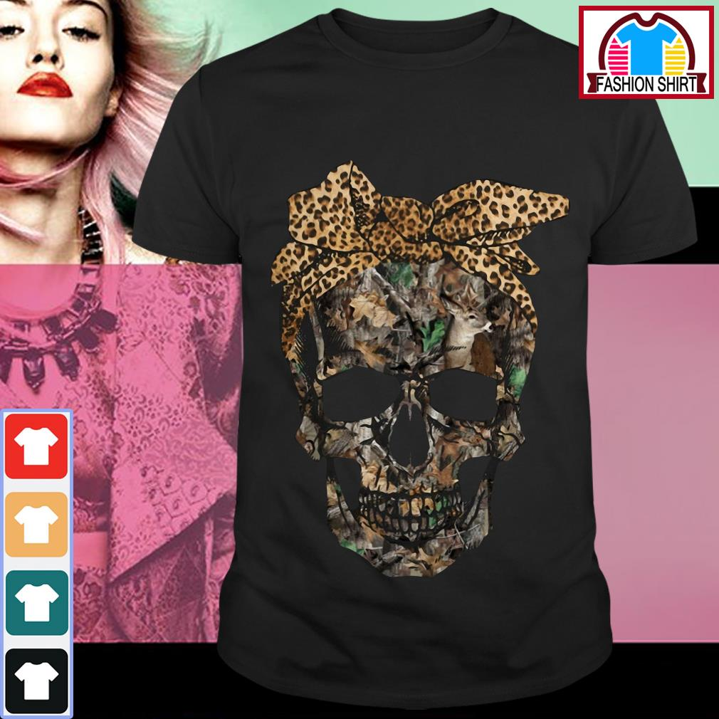 Official Deer hunting camouflage skull with leopard bandana shirt by tshirtat store Guys Shirt