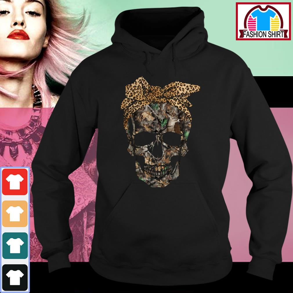 Official Deer hunting camouflage skull with leopard bandana shirt by tshirtat store Hoodie
