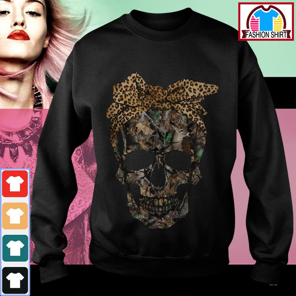 Official Deer hunting camouflage skull with leopard bandana shirt by tshirtat store Sweater