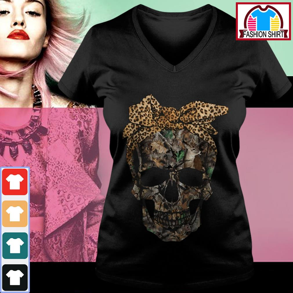 Official Deer hunting camouflage skull with leopard bandana shirt by tshirtat store V-neck T-shirt