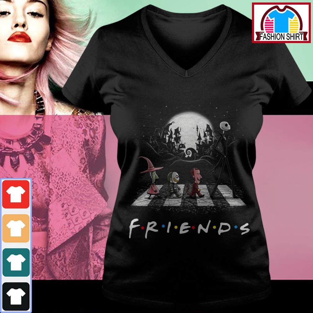 Official Friends The Nightmare Before Christmas Abbey Road shirt by tshirtat store V-neck T-shirt