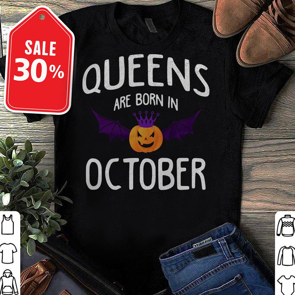 Official Halloween Queens are born in October shirt by tshirtat store Ladies Tee