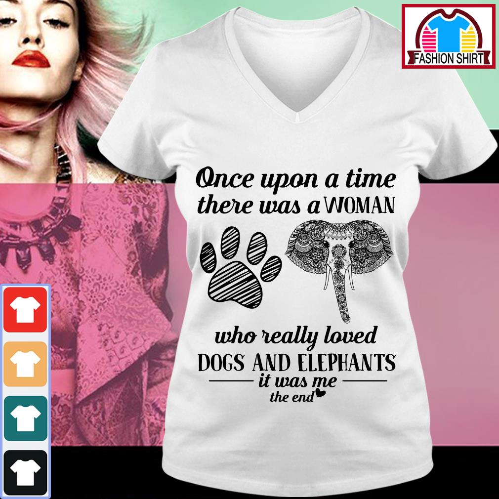 Official Once upon a time there was a woman who really loved dogs and elephants shirt by tshirtat store V-neck T-shirt