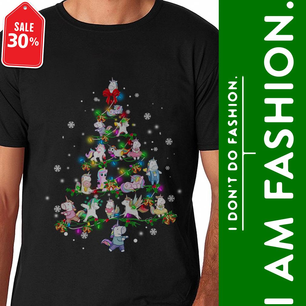 Official Unicorn Christmas tree shirt by tshirtat store Shirt