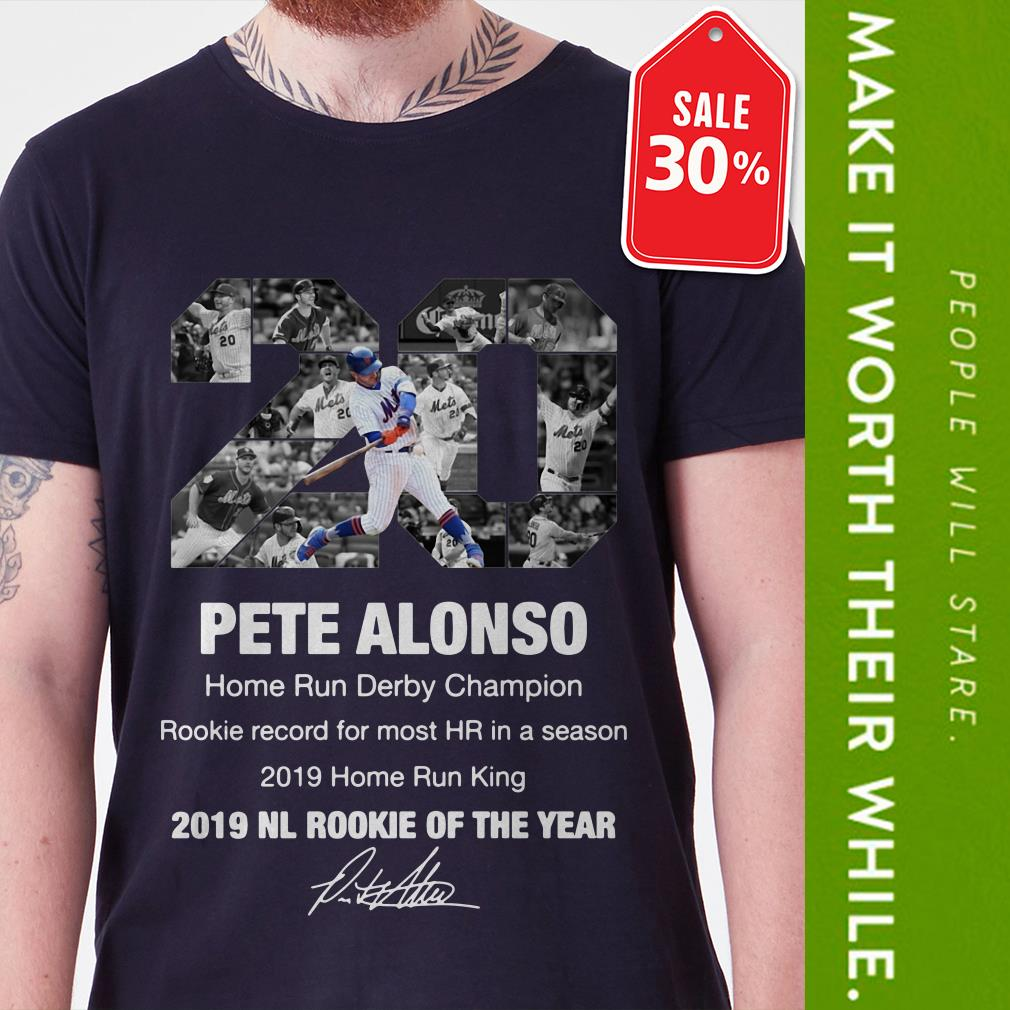 Official 20 Pete Alonso 2019 NL Rookie of the year signature shirt by tshirtat store Shirt