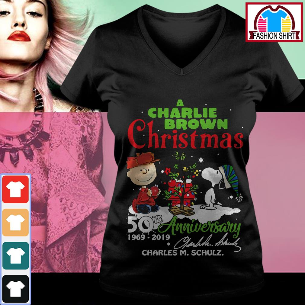 Official A Charlie Brown Christmas 50th Anniversary 1969-2019 signature shirt by tshirtat store V-neck T-shirt