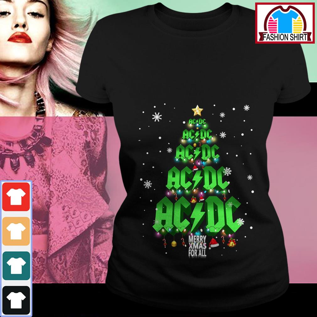 Official ACDC Merry Xmas for all Christmas tree shirt by tshirtat store Ladies Tee