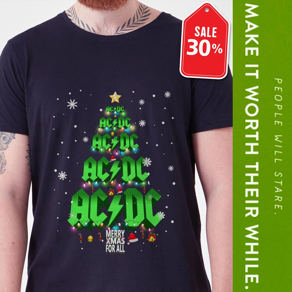 Official ACDC Merry Xmas for all Christmas tree shirt by tshirtat store Guys Shirt
