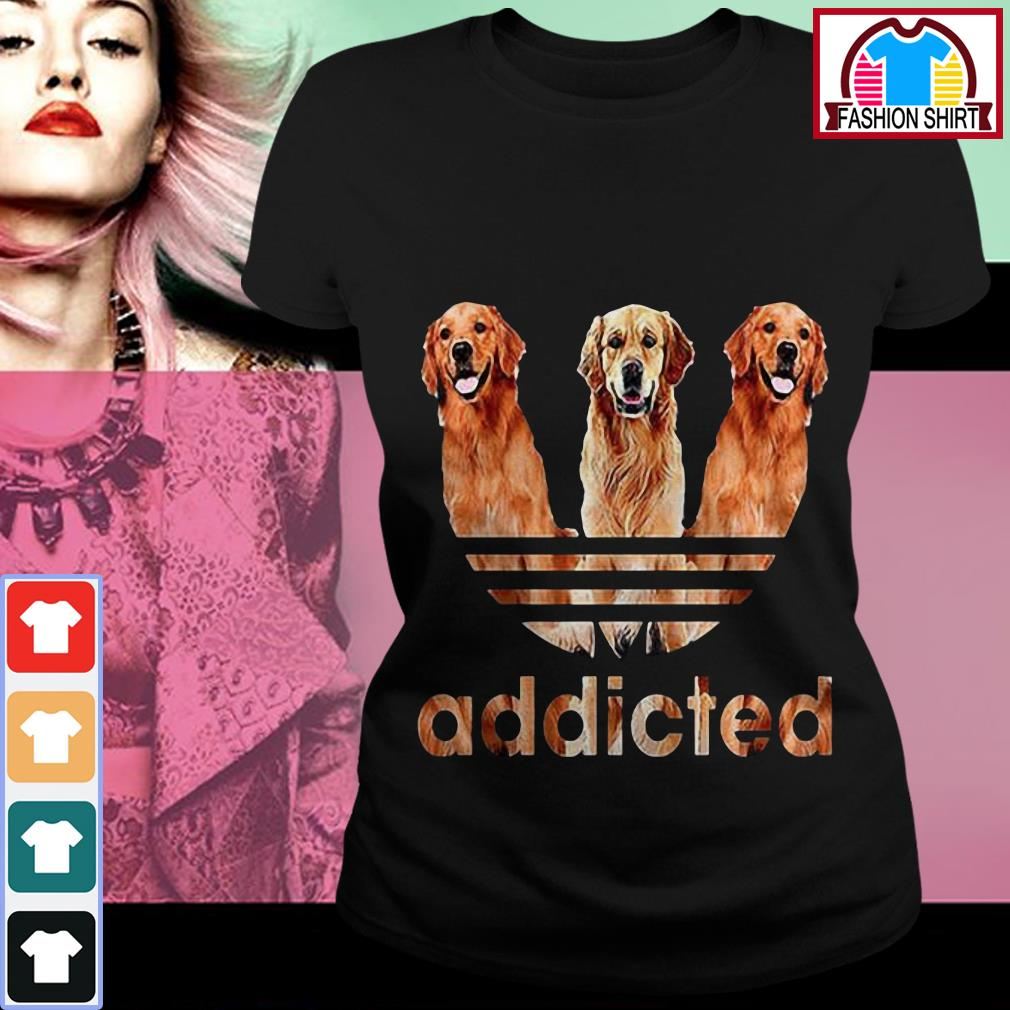 Official Adidas Golden Retriever addicted shirt by tshirtat store Ladies Tee