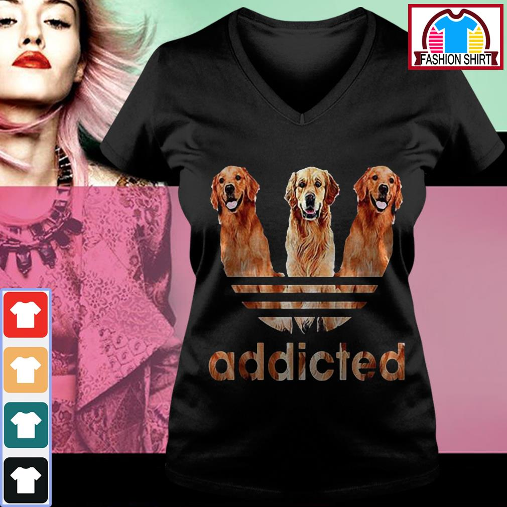 Official Adidas Golden Retriever addicted shirt by tshirtat store V-neck T-shirt