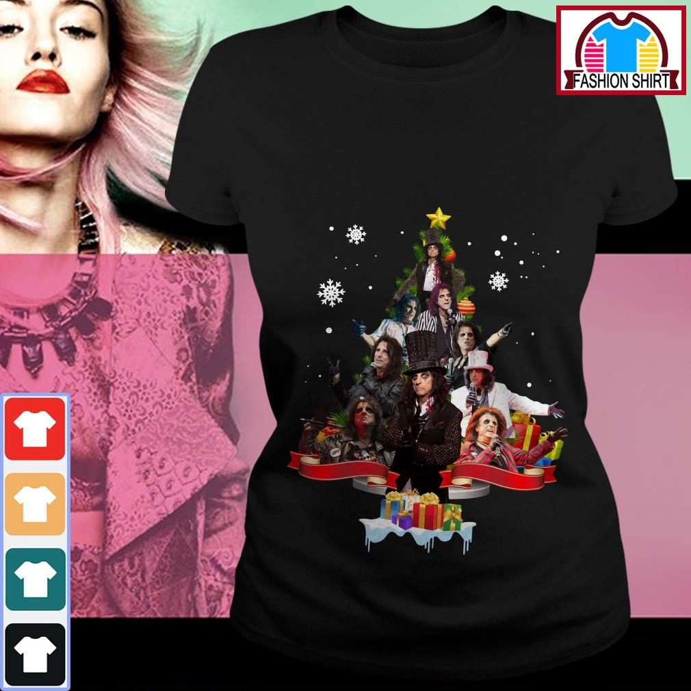 Official Alice Cooper Christmas tree shirt by tshirtat store Ladies Tee