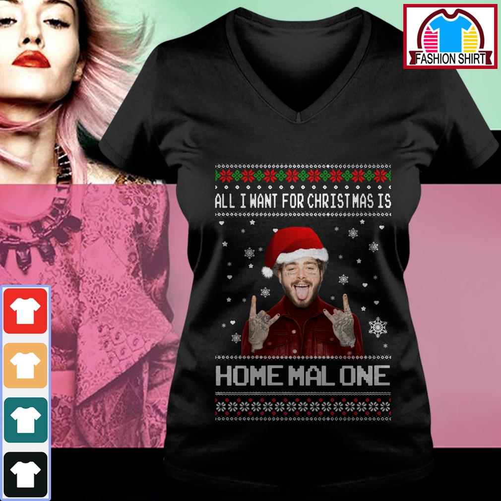 Official All I want for Christmas is Home Malone ugly Christmas shirt by tshirtat store V-neck T-shirt