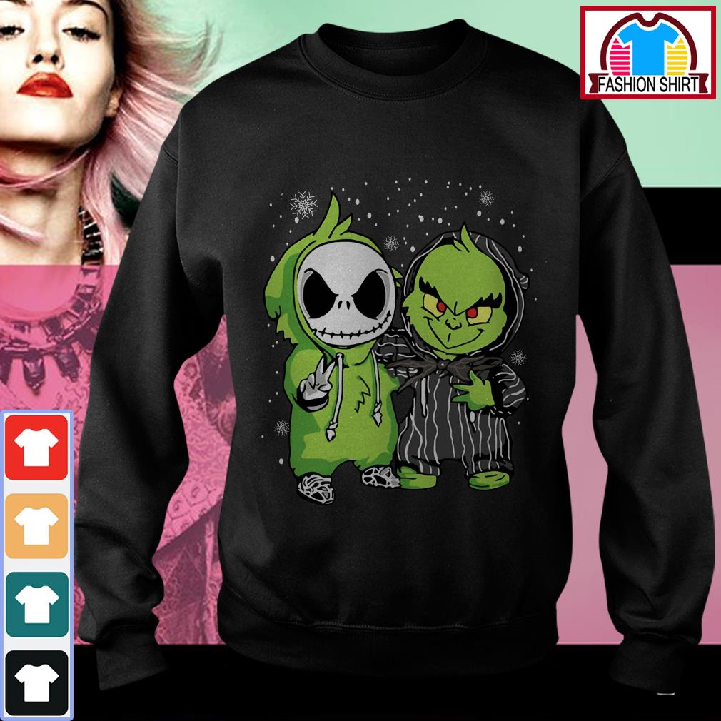Official Baby Jack Skellington and Grinch snow Christmas shirt by tshirtat store Sweater