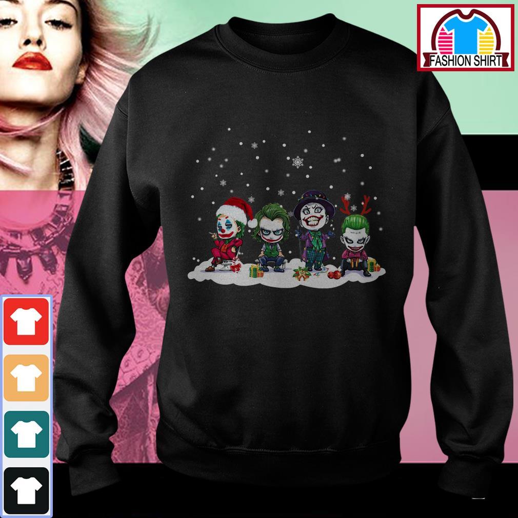 Official Joker Joaquin Phoenix Heath Ledger Jack Nicholson chibi Christmas shirt by tshirtat store Sweater