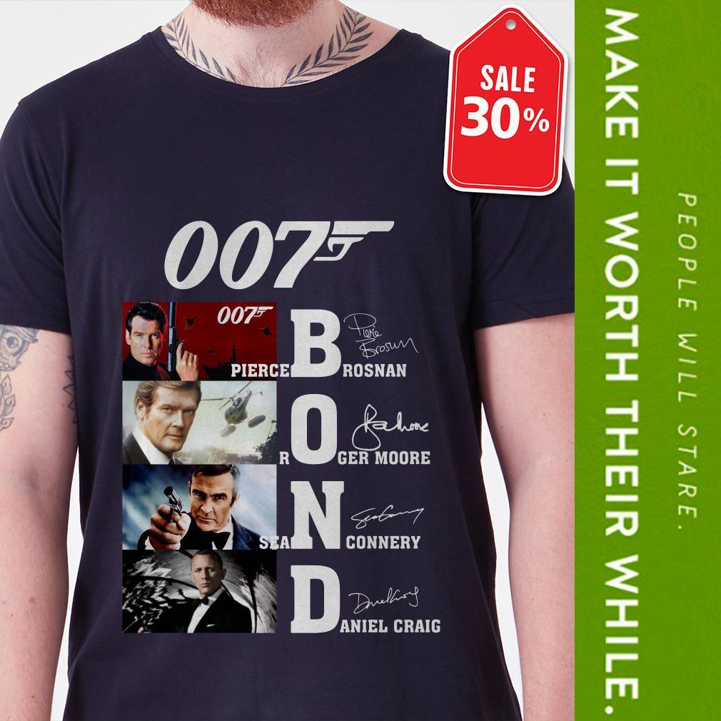 Official 007 Bond Pierce Brosnan Roger Moore Sean Connery Daniel Craig signatures shirt by tshirtat store Shirt