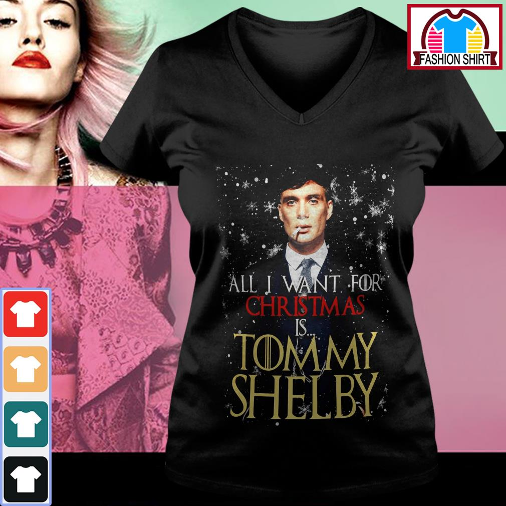Official All I want for Christmas is Tommy Shelby shirt by tshirtat store V-neck T-shirt