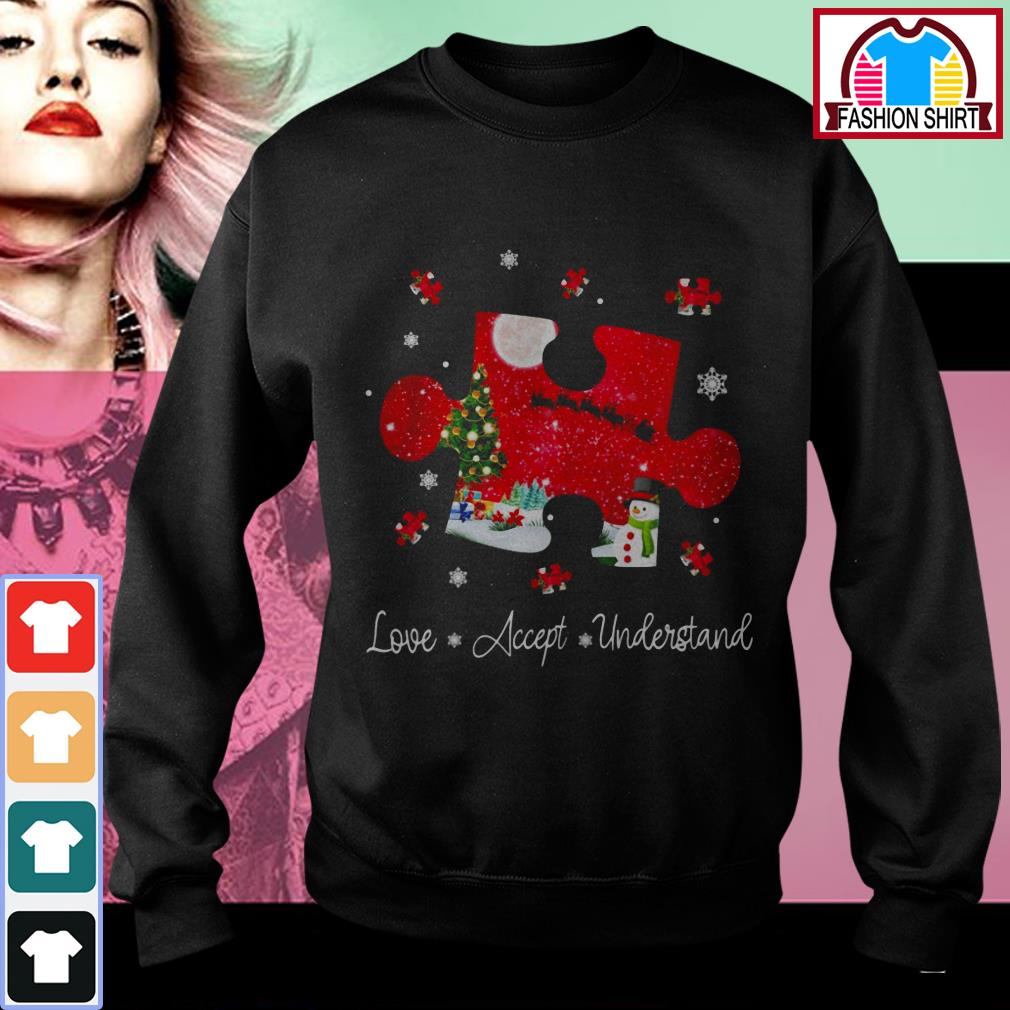 Official Autism love accept understand Christmas shirt by tshirtat store Sweater