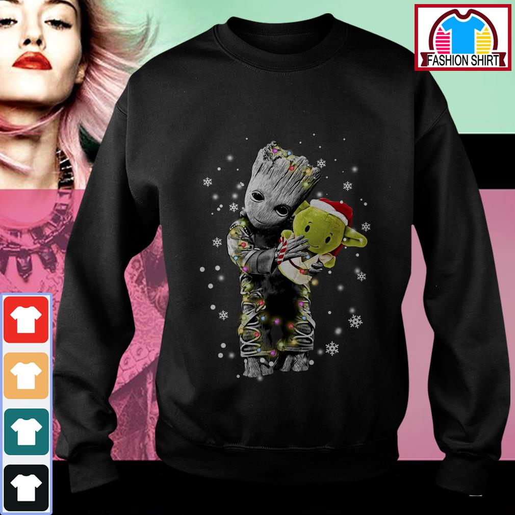 Official Baby Groot hugging baby Yoda Christmas shirt by tshirtat store Sweater