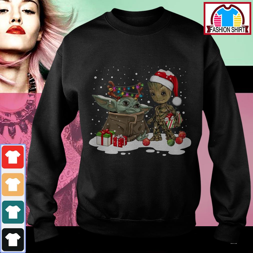 Official Baby Yoda and Groot Santa Christmas shirt by tshirtat store Sweater