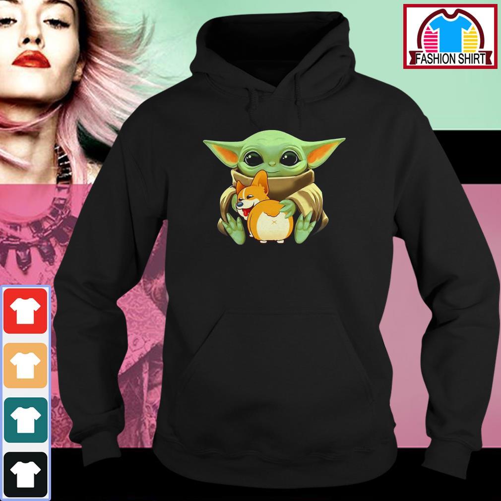 Official Baby Yoda hug Corgi dog shirt by tshirtat store Hoodie