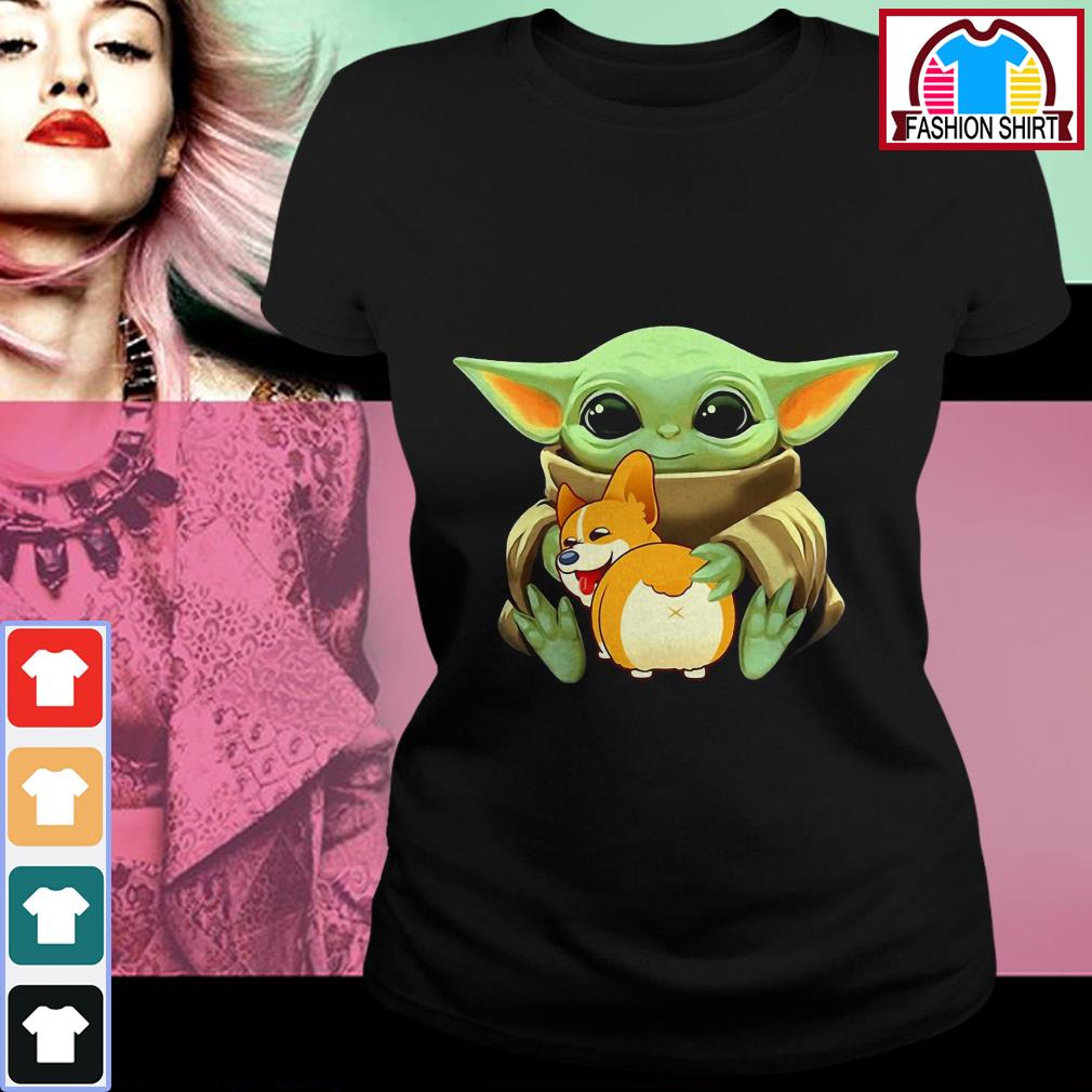 Official Baby Yoda hug Corgi dog shirt by tshirtat store Ladies Tee