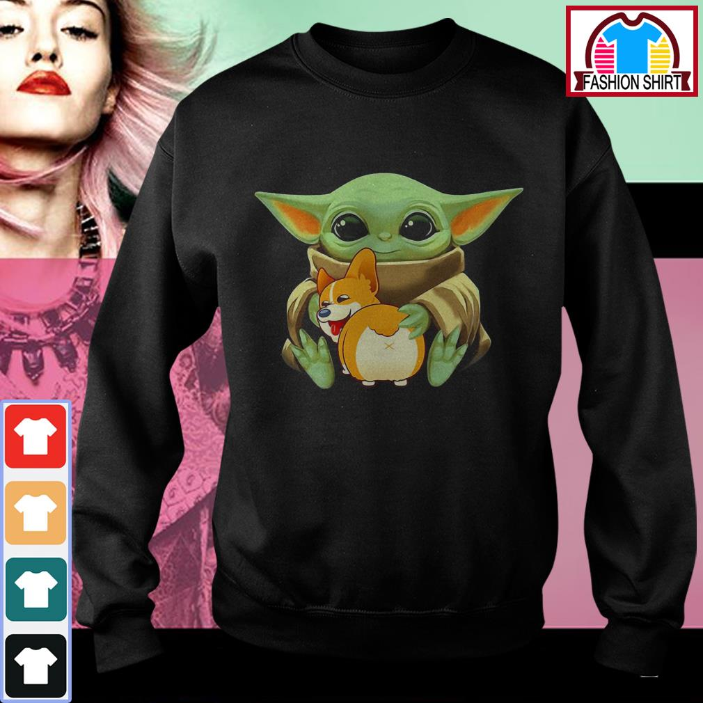 Official Baby Yoda hug Corgi dog shirt by tshirtat store Sweater
