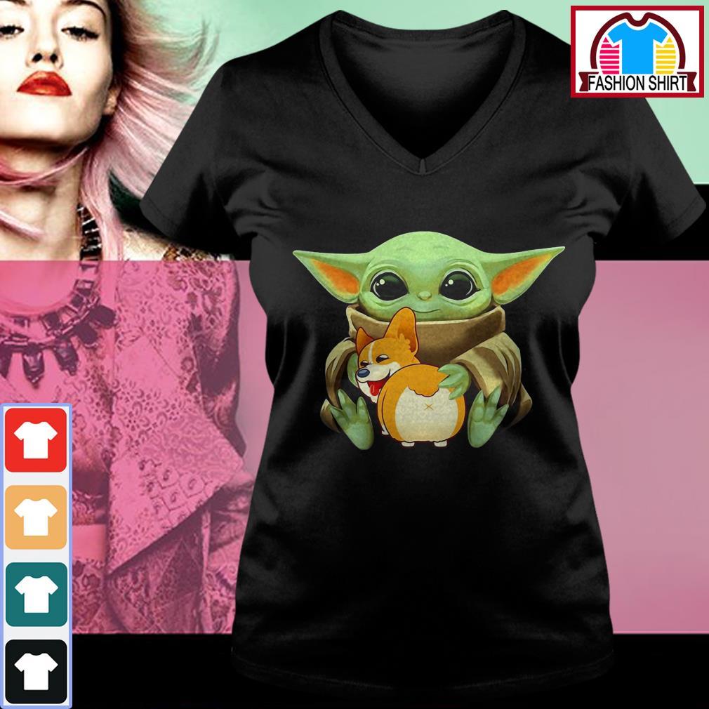 Official Baby Yoda hug Corgi dog shirt by tshirtat store V-neck T-shirt