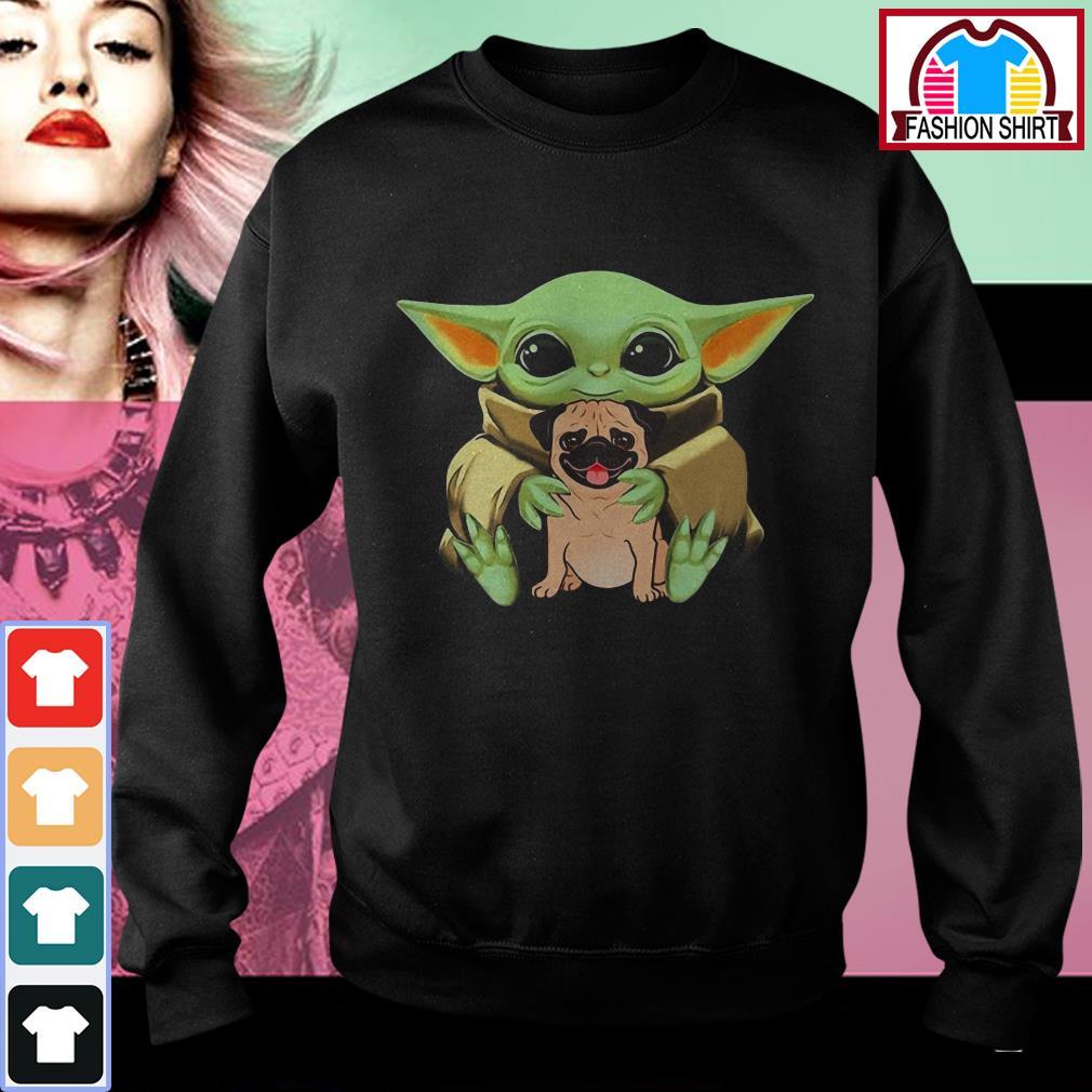 Official Baby Yoda hug Pug dog shirt by tshirtat store Sweater
