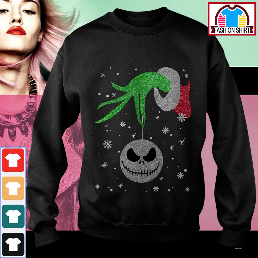Official Grinch hand holding Jack Skellington Christmas shirt by tshirtat store Sweater