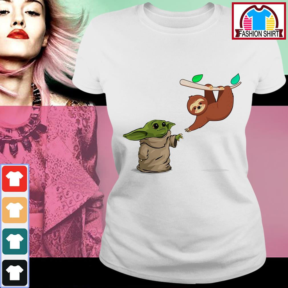Official Baby Yoda and sloth shirt by tshirtat store Ladies Tee