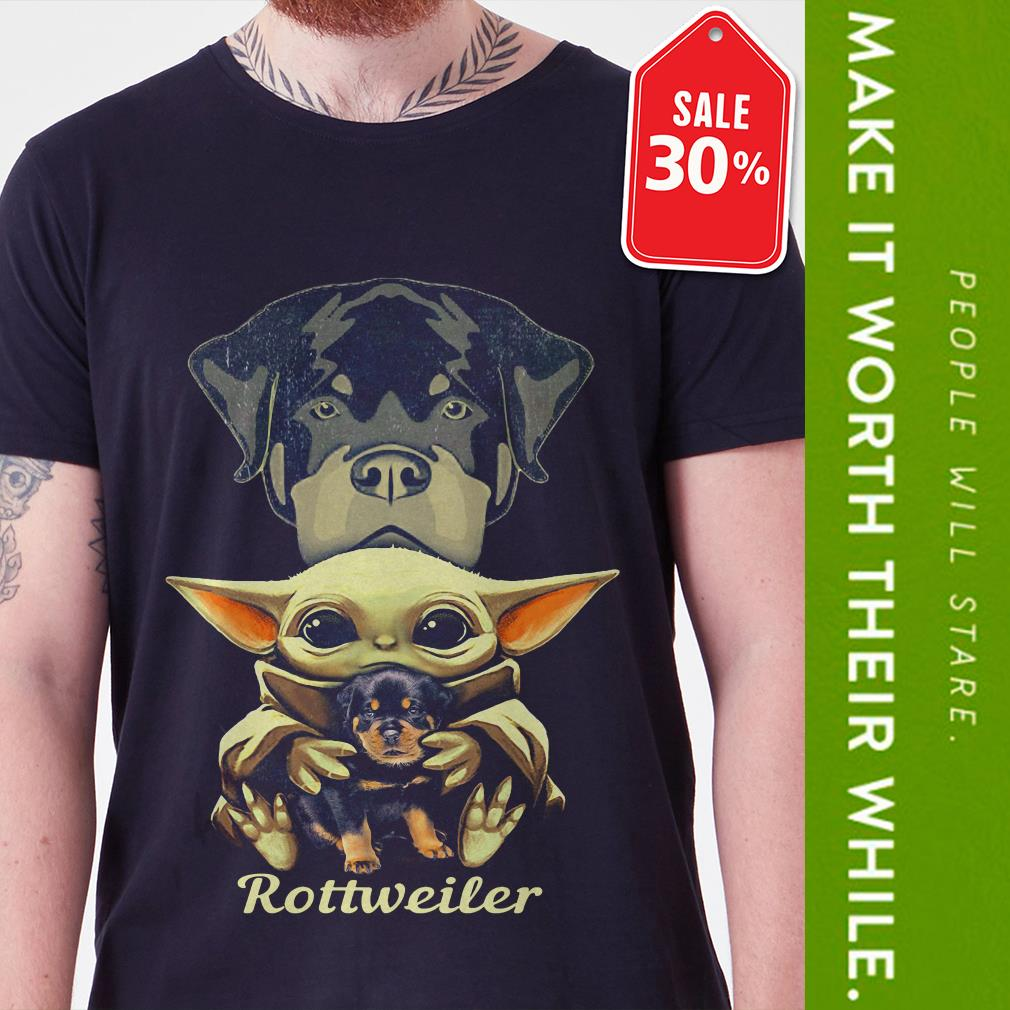 Official Baby Yoda hug Rottweiler shirt by tshirtat store Shirt