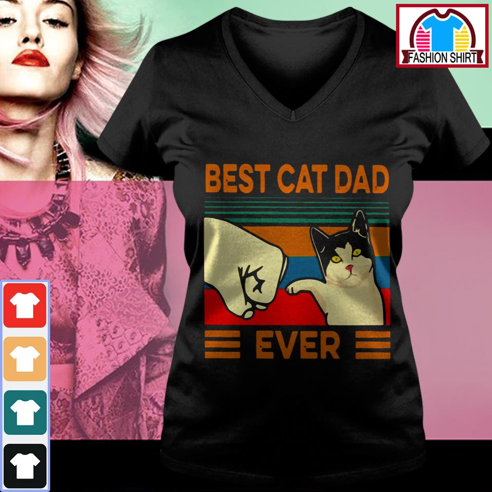 Official Best cat dad ever vintage shirt by tshirtat store V-neck T-shirt